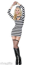 Ladies/Girls Prisoner Convict Costume - Fancy Dress Sz 8/12
