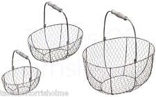 Kitchen Craft Living Nostalgia Wire Set Of 3 Fruit, Vegetable & Egg Baskets