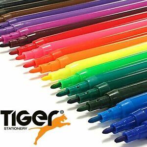 FELT TIP COLOURING PENS Fine Fibre Markers Kids/Adult Art Set Pack GENUINE TIGER