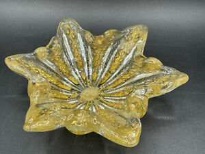 Vintage Handblown Gold Art Glass Bowl from Murano Venice Italy Nut or Candy Dish