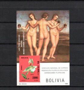 Bolivia 1985 Sheet (Michel Bl. 148) Raphael/Art/Paintings/Flowers nice MNH