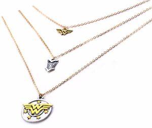 "Wonder Woman Logo 3-Strand Goldtone/Silvertone 22"" Necklace"