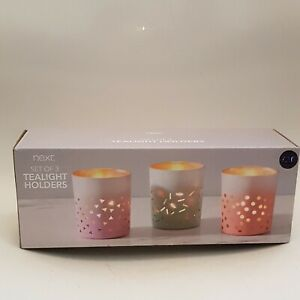 Next Multi-Coloured Tealight Holders- Set of 3 New Boxed