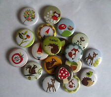 "20 Woodland Creatures 1"" pin back Buttons."