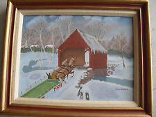 Original Sam Weaver Framed Painting - Wood Covered Bridge with Horse Drawn Sled
