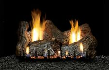 Empire Sassafras Log Set, 7-pc,18 Refractory Slope Glaze Burner Ip Lp Vent Free