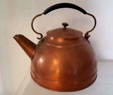 "VTG Copper & Brass Tea Pot/Kettle Revere? Very Charming  approx 9"" by 8"" CABIN"