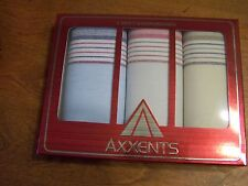 Men's handkerchiefs; gift box of 3 pcs. Father's Day; pocket squares; striped