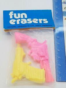 Vintage 80s Erasers Rubber Gomme Pistol Gun New Sealed
