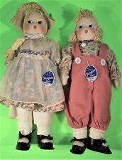 Excellent Pair of 16 inch All Original Tagged Georgene Children Cloth Dolls