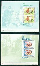 EUROPA 1981 Azores + Madeira Souvenir sheets NH, VF Scott $9.50