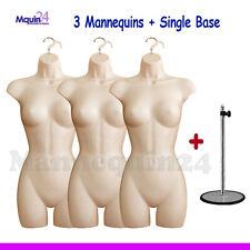 3 pack Mannequin Torsos + 3 Hangers + 1 Stand - 3 Flesh Female Dress Forms
