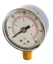 Pressure Gauge 0/60 PSI & 0/4 Bar 40mm Dial 1/8 BSPT Bottom connection.
