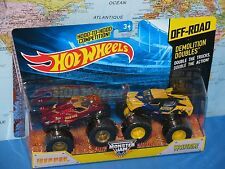 HOT WHEELS MONSTER JAM DEMOLITION DOUBLES IRON MAN VS WOLVERINE OFF-ROAD NEW
