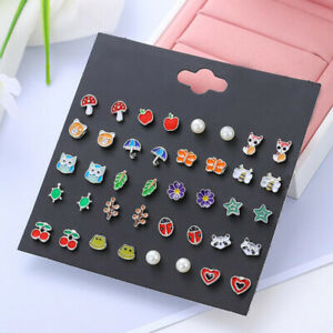 20Pairs/set Girls Kids Cute Fruit Animals Flower Stud Earrings Jewelry Xmas Gift