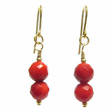 Red Coral Earrings, 9ct Gold Hooks, Semi-precious Gemstone Beads, Faceted Cut