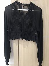 Free People Black Lace Bolero Cropped Jacket, Size XS