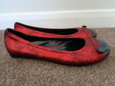NEW SHELLY'S LONDON RED METALLIC FLAT BALLERINA SHOES SIZE 6