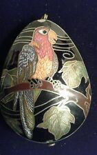 Vintage Beautiful Parrot Cloisonne Enameled Pendant
