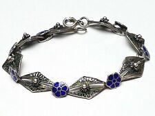 Zierliches 800 Silber Filigran-Armband kleine Blumen Steg-Emaille blau - A 498