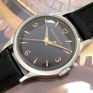Mens MINT 1949 Jaeger LeCoultre BLACK DIAL Vintage P478/C Swiss Made S/S Watch