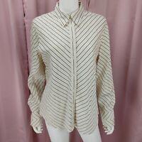Jones New York Women's Ivory Black Stripe Long Sleeve Button-Up Shirt Size Large