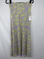 LuLaRoe Maxi Skirt Dress Size XS Purple Yellow Blue Diamond Geometric New NWT