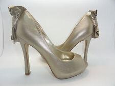 RSVP Kai Gold Pump Heels Open Toe Size 5