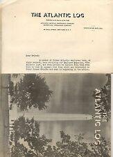 The Atlantic Log Nov 1949 Atlantic Mutual  Ins Co. Wall Street Vol IV No 9 W/Let