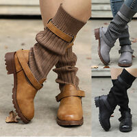 WOMENS KNITTED KNEE HIGH FLATS WINTER RIDING MID CALF BUCKLE BOOTS SIZE 6-10.5