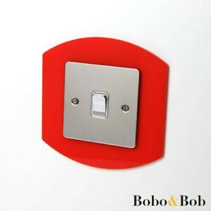 Oval Rounded Light Switch / Socket Surround - Acrylic Finger Plate - 85 Colours