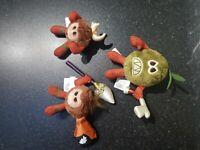Rare Bundle Collection of 3 Disney Kakamora Moana soft Plush Toys