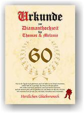Diamanthochzeit Urkunde zum 60. Hochzeitstag Geschenkidee Diamant Hochzeit NEU