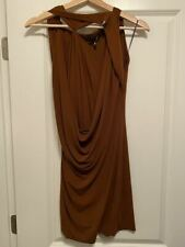 Plein Sud NWT 15P Brown Draped Front MINI ROBE Jersey Sleeveless Dress 38 6