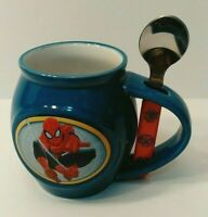 Spiderman Coffee Mug Blue Cup Spoon Holder with Spoon Marvel Comics 2014