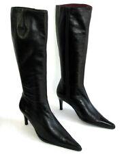 LE DEFILE Bottes talons 7 cm bouts pointus cuir noir 38 - TRES BON ETAT