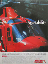 9/1990 PUB AGUSTA A109 K2 CIVIL RESCUE HUBSCHRAUBER HELICOPTER ORIGINAL AD