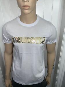 Men's Dsquared White/gold Tshirt Bargain Price £39.99 XLarge