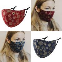 """null KARAT Stoffmaske Behelfsmaske Maske """"Schneeflocken"""" 100% Baumwolle"""