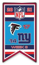 2021 Semaine 3 Bannière Broche NFL Atlanta Falcons Vs. New York N.y. Giants Très