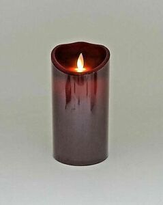 """3.5.""""x 7"""" Flickering Flameless LED Candle Light w Timer Burgundy Christmas"""