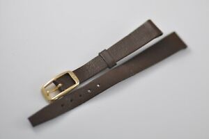 12mm Omega Vintage Band Strap Brown with Gold Plated Buckle NOS Mint (W43)