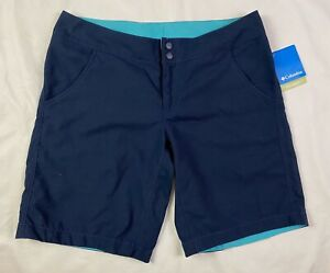 "NWT Columbia PFG Women's Sz 12 (10"" Inseam) Shorts Omni Shade UPF 50 Blue NEW"