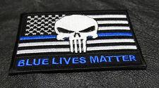 BLUE LIVES MATTER BLUE LINE PUNISHER SKULL US FLAG IRON ON MORALE POLICE PATCH