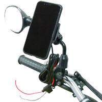 Hardwire Powered Bike Mirror Mount & TiGRA MountCase 2 Holder for iPhone XR