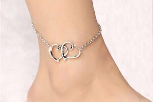 Double Heart Women Anklet Ankle Bracelet Foot Jewelry Silver tone Girl Present