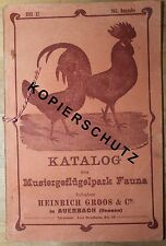 Katalog 1911/12 Mustergeflügelpark Fauna Heinrich Gross Auerbach Geflügel