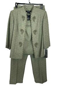 Perceptions Women's Olive Green 3 Piece Pant Suit Size 14