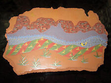 "Painting On Clay ""Desert Bird"" By Tim And Pamela Ballingham Signed Landscape"