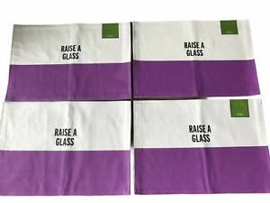 """KATE SPADE Place Mat Set of 4 Food for Thought """"Raise a Glass"""" White / Purple"""